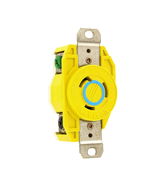 Leviton 23CM-20 20 Amp, 250 Volt, Flush Mounting Locking Receptacle, Industrial Grade, Grounding, Corrosion Resistant, Yellow