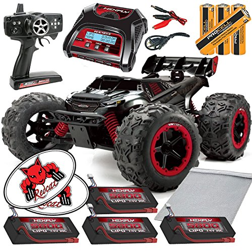 Team RedCat TR-MT8E 1:8 RC Monster Truck Bundle (9 Items) Brushless RTR Kit 2.4GHz Controller + x4 LIPO 5800mAh Batteries + HX Dual 2S Bal Charger + Charging Bag + AA ProCell Batteries +RedCat Decals