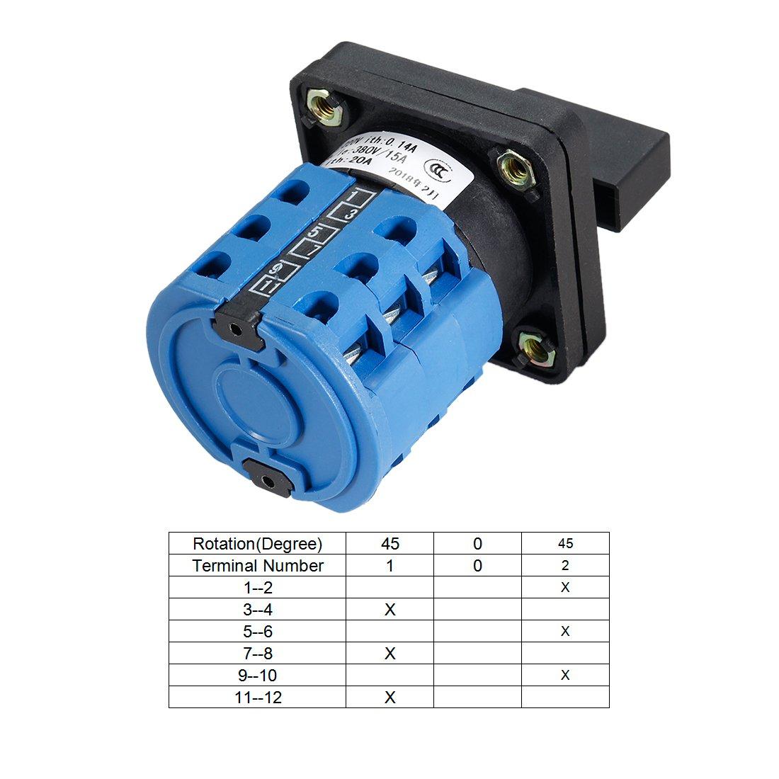uxcell 660V 20A 6 Terminals 4 Positions Rotary Cam Changeover Switch ...