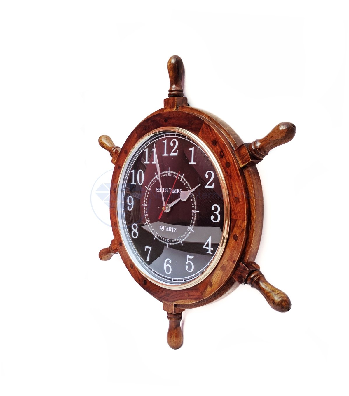 Nagina International Nautical Hand Crafted Wooden Ship Wheel with Quartz Times Wall Clock – Pirate Nursery Home Decor 24 Inches, Black Dial Face