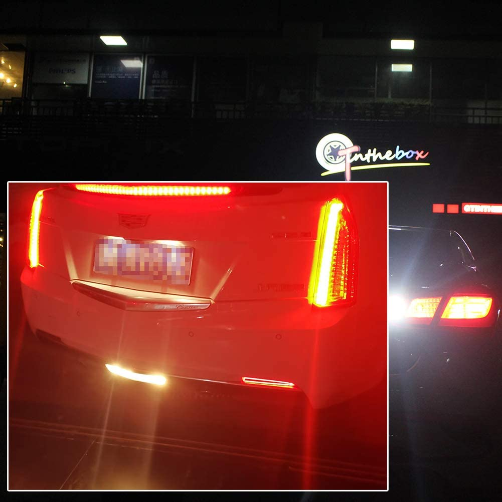 GTINTHEBOX Red Lens LED Tail Brake Rear Fog Light Bumper Reflector Lamps for 2016-2020 Chevrolet Camaro Traverse,Cadillac ATS XT5