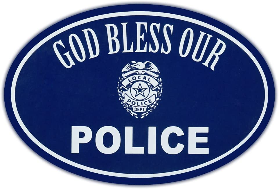 Amazon.com: Oval Car Magnet - God Bless Police - Support Law ...