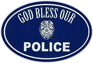 Oval Car Magnet - God Bless Police - Support Law Enforcement - Magnetic Bumper Sticker