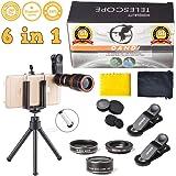 Universal 6 in 1 Clip On Camera Lens Kit | Cell Phone Bundle iPhone, Samsung, Most Smartphones | 12x Telescope Zoom + Fisheye + Wide Angle + Macro + Tripod + Microfiber Cloth + Phone Holder DANDI