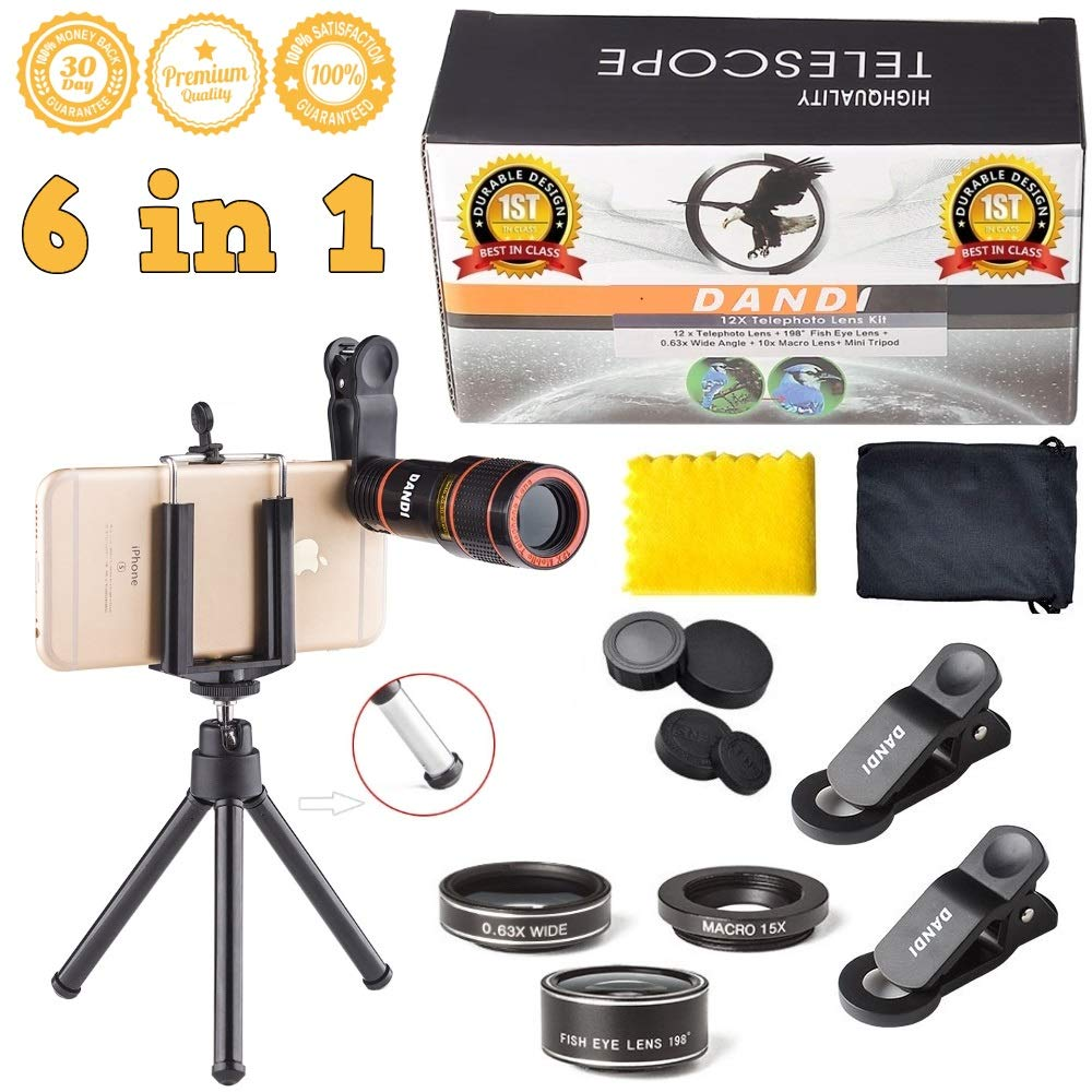 Universal 6 in 1 Clip On Camera Lens Kit | Cell Phone Bundle iPhone, Samsung, Most Smartphones | 12x Telescope Zoom + Fisheye + Wide Angle + Macro + Tripod + Microfiber Cloth + Phone Holder DANDI