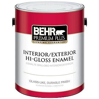 Behr Premium Plus 1 Gal Ultra Pure White Hi Gloss Enamel Interior Exterior Paint Amazon Com Industrial Scientific