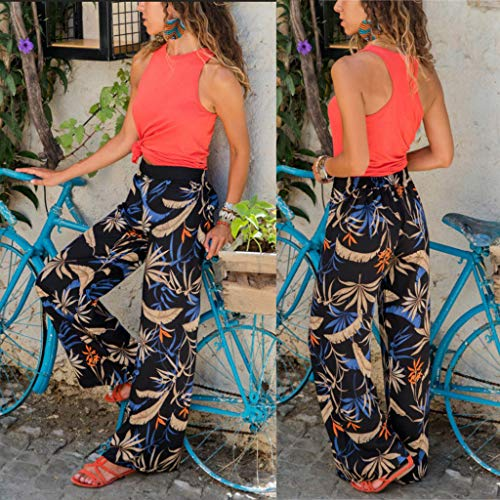 Pervobs Women Summer Floral Printing Loose Comfort High Waist Wide Leg Pants Leggings Trouser(S, Black) by Pervobs Women Pants (Image #1)