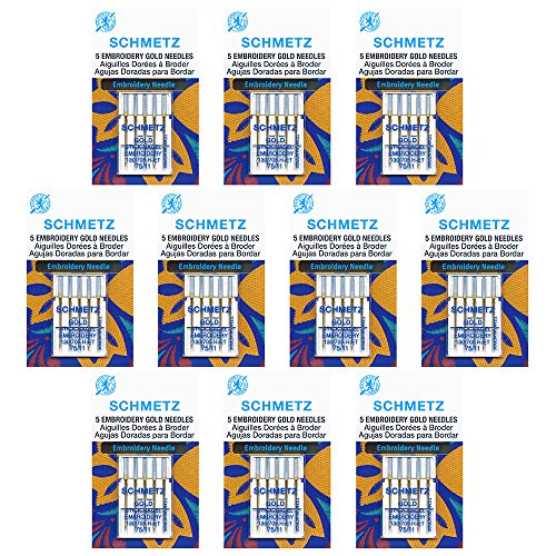 (50 Schmetz Gold Embroidery Sewing Machine Needles - size 75/11 - Box of 10 cards)
