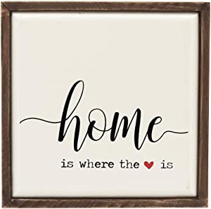 Wooden Block Sign-Home is Where The Heart is, Wooden Sign Art with a Red Heart, Box Sign for Tabletop and Home Decor