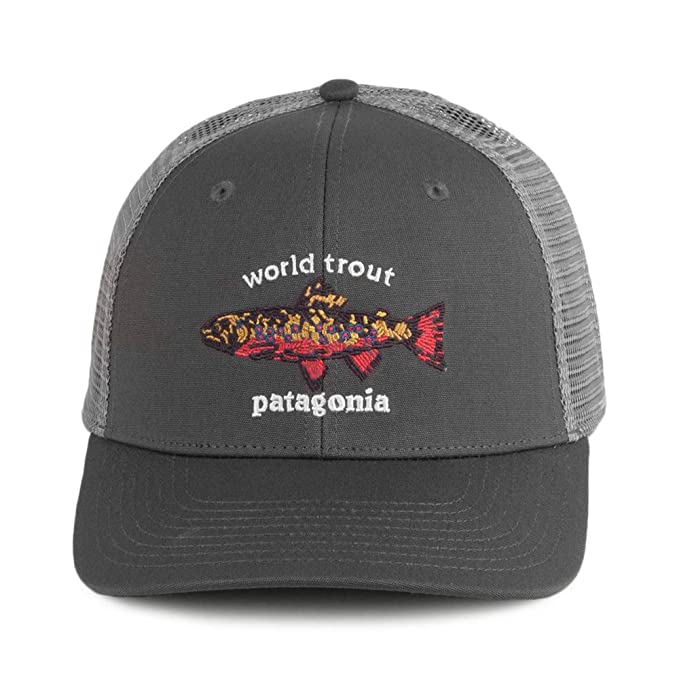 77cd6f50 Patagonia Hats World Trout Brook Fishstitch Trucker Cap - Grey Adjustable:  Amazon.co.uk: Clothing