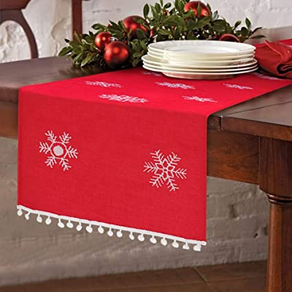 Christmas Table Runner Uk.Aparty4u Snowflake Red Christmas Table Runner Table Decor Christmas Embroidered Table Linens For Christmas Decoration 16 X 72 Inch