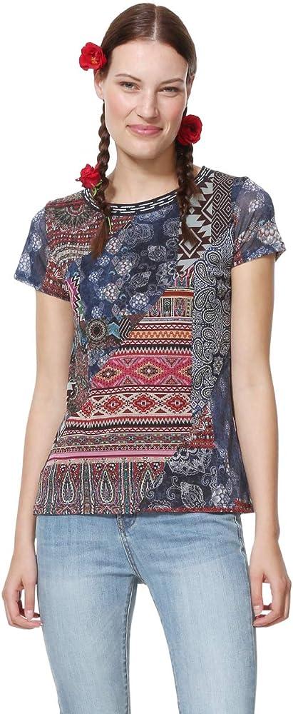 Desigual T-Shirt Short Sleeve Lucia Woman Blue Camiseta, Azul (Navy 5000), XS para Mujer: Amazon.es: Ropa y accesorios