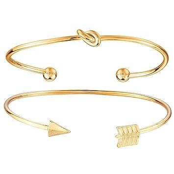 Fashion Men Women Gold Silver Geometry Punk Bangle Open Cuff Bracelet Jewelry