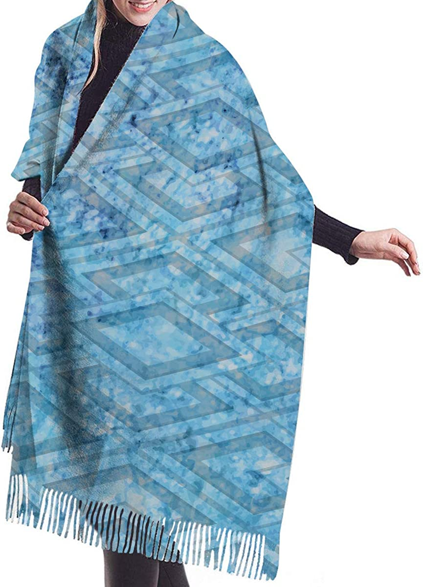 Abstract Art Blue Geometric Cashmere Feel Scarves with Tassels for Men Women