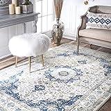 nuLOOM RZBD07A-71001010 Verona Vintage Persian Area Rug, 8' x 10', Blue