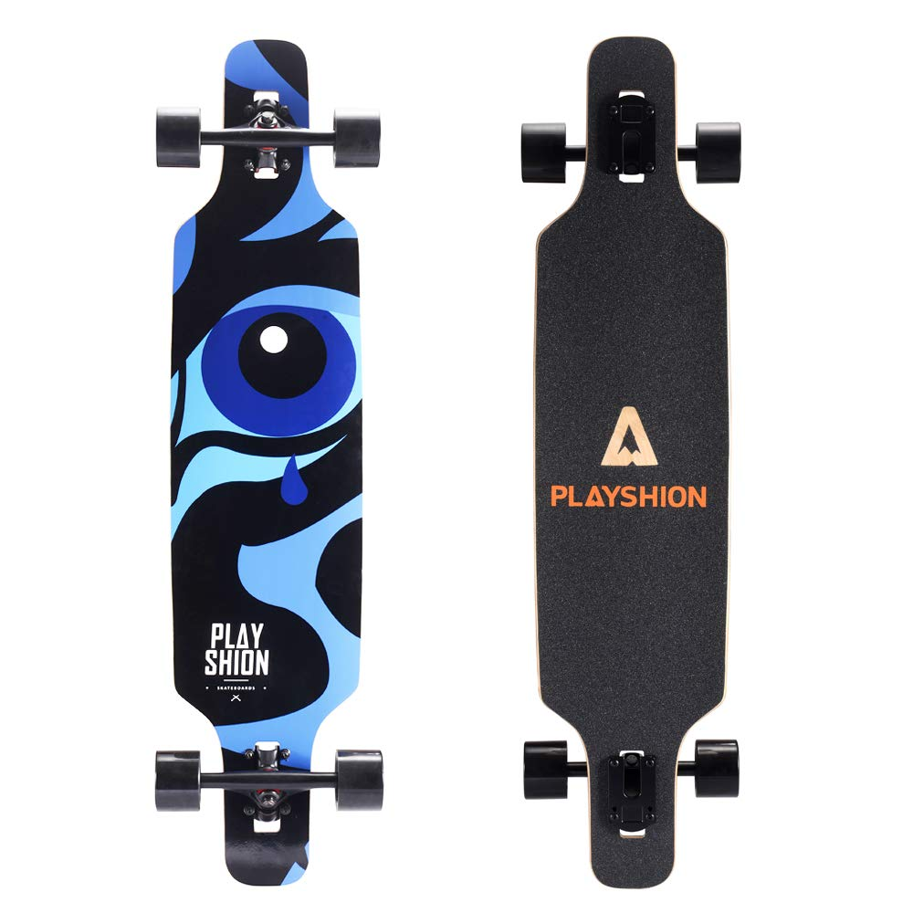 Playshion 39 Inch Drop Through Freestyle Longboard Skateboard Cruiser Blue Tear