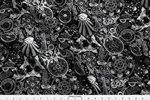 Spoonflower Occult Fabric - Occult Witch Black Magic Alchemy Gothic Zodiac Astrology - by Xoxotique Printed on Organic Cotton Knit Ultra Fabric by The Yard from Spoonflower