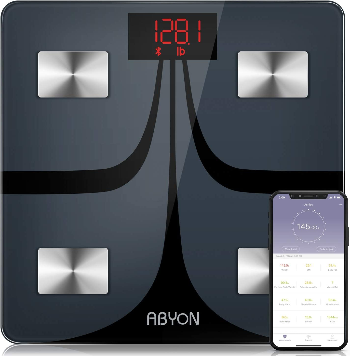 ABYON Bluetooth Smart Bathroom Scales for Body Weight Digital Body Fat Scale,Auto Monitor Body Weight,Fat,BMI,Water, BMR, Muscle Mass with Smartphone APP,Fitness Weight Loss Track Health Scale: Health & Personal Care