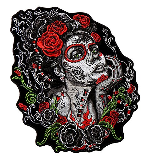 (Hot Leathers, SUGAR SKULL WOMAN, Premium Quality Iron-On / Saw-On, Heat Sealed Backing Rayon PATCH - 4
