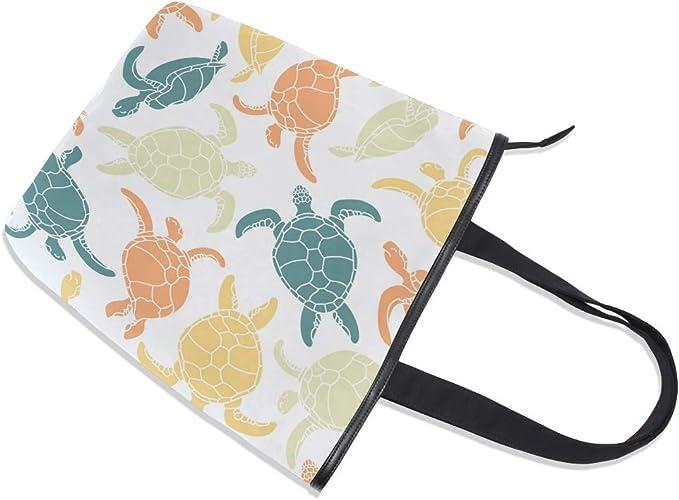 Bolso de lona para mujer dise/ño de tortugas marinas con cremallera Jeansame