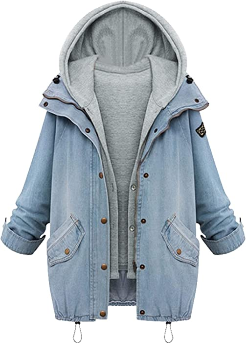 Autumn Winter Fashion Women 2 Two Piece Set Denim Jacket Hooded Jacket Oversized Casual Basic Coats Outerwear Light Blue Abrigos