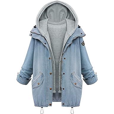 Aancy Autumn Winter Fashion Women 2 Two Piece Set Denim Jacket Hooded Jacket Oversized Casual Basic