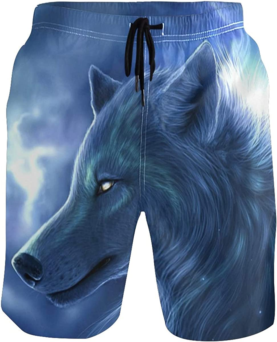 Wolf Teenager Boys Beachwear Beach Shorts Pants Board Shorts