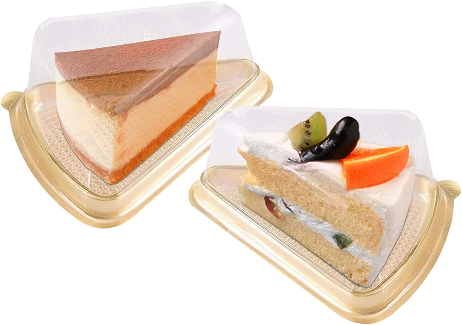 Set of 100 Pcs Cake Slice Container Cheesecake Pies Pies Holder Clear Plastic with Gold Base, Fits Less Than 4.5x3.1x3in Cakes
