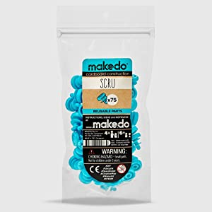 Makedo Cardboard Construction Scru Expansion Pack, Includes 75 Reusable Scrus, Perfect for in-Classroom STEM, STEAM Learning and at-Home Play for Kids Age 4+