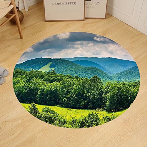 Gzhihine Custom round floor mat Landscape View of Mountains in Potomac Highlands of West Virginia Rural Scenery Picture Bedroom Living Room Dorm Forest - Outlets Potomac