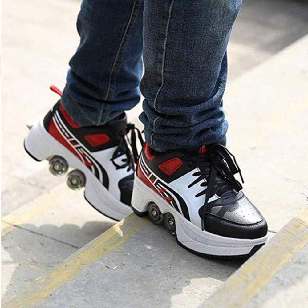 Roller adulto unisex scarpe da skate,-High Top Quad pattini a rotelle,Blu,35 2-in-1 Multi-Purpose Scarpe sport a piedi scarpe AG Rollerblades regolabili