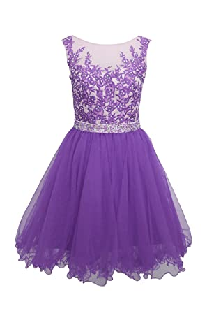 1328756367d Ellames Short Homecoming Dress For Juniors Plus Size Prom Party Dresses  Purple US 24Plus