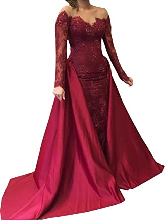 inmagicdress Plus Size Prom Dresses Burgundy Long Sleeves 2018 Lace Sheer Neck Formal Gowns 195