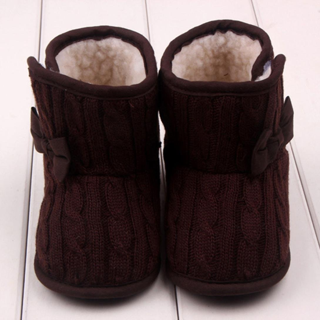 JACKY BabyGirls Boys Bowknot Soft Sole Winter Warm Shoes Boots 6-9 months, Coffee