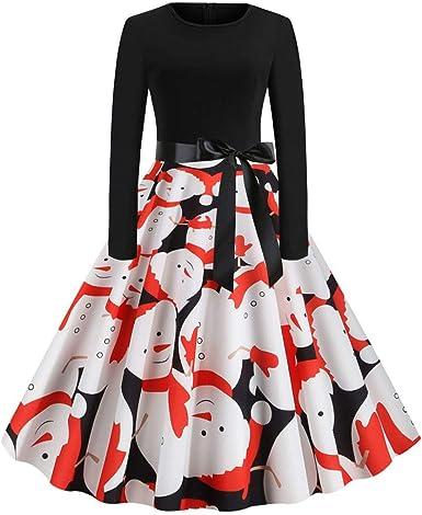 CLOOM Vestido Manga Larga para Navidad Fiesta Casual Multicolor ...