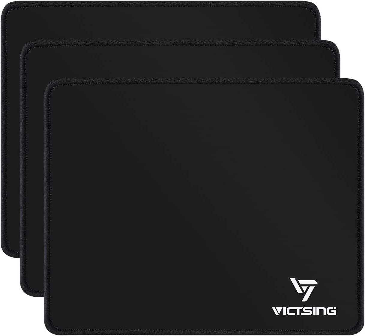 VicTsing 3Pack Mouse Pads with Stitched Edge, Premium-Textured Mouse Mat, Non-Slip Rubber Base Mousepad for Laptop, Computer & PC, 10.2×8.3×0.08 inches, Black