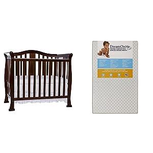 Dream On Me Naples, 4 in 1 ConvertibleMini Crib with Dream On Me 3 Portable Crib Mattress, White