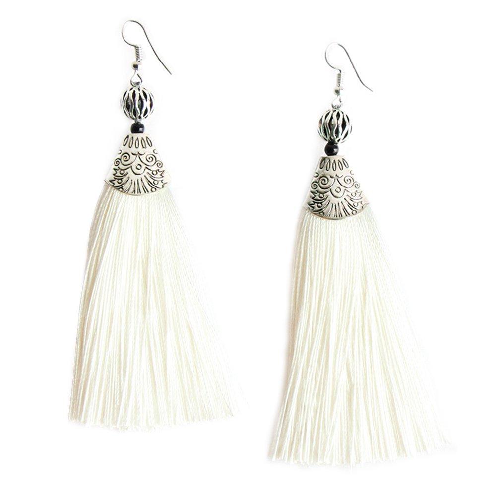 MHZ JEWELS White Tassel Long Drop Vintage Earrings Bohemian Fringe Dangle Bead Tassel Earrings for Women Girls