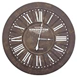 Yosemite Home Decor CLKB2A175 Grey Circular Wall Clock Gray Beige Face, White Text, White Hands For Sale