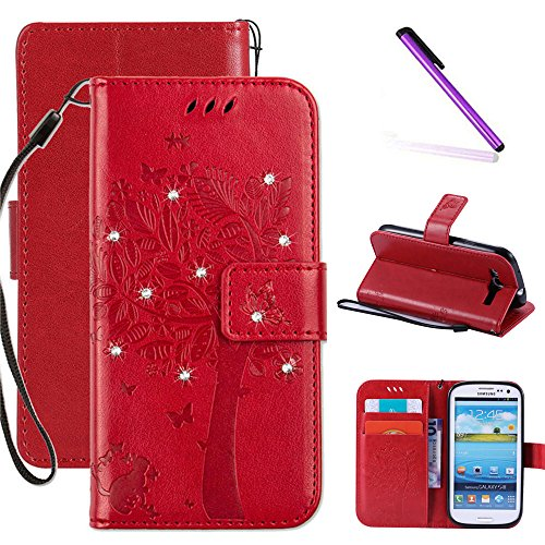 Galaxy S3 Case LEECOCO Embossed Floral 3D Handmade Bling Crystal Diamonds Butterfly with Card Slots Magnetic Flip Stand PU Leather Wallet Case for Samsung Galaxy S3 Wishing Tree Red (Galaxy S3 Cases Wallet)
