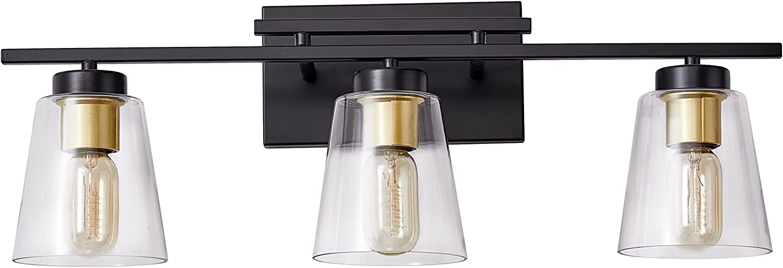 KRASTY Modern Black 3-Lights Bath Light Fixture Farmhouse Glass Bathroom Vanity Light,Bathroom Light Fixtures for Bedroom Powder Room Vanity Cabinets Dressing Table ZGL0038BG-KR