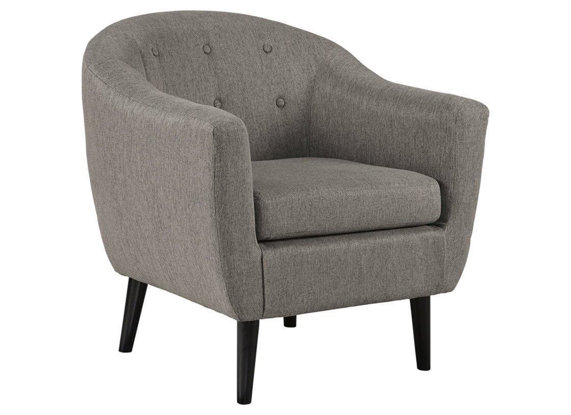 Signature Design by Ashley - Klorey Accent Chair - Barrel Design - Contemporary Style - Charcoal Gray - MID CENTURY ACCENT CHAIR: A stylish mesh of modern and yesteryear design, this chair has textural upholstered weave for a rich, multi-tonal gray that's simply irresistible in your home PLUSH COMFORT: Relax on high-resiliency foam cushions upholstered in supple polyester. Supported by a sturdy corner blocked frame with exposed faux wood feet CHIC ACCENTS: Barrel-style seating is so trendy paired with button tufting and angular legs, which enriches its mid century character - living-room-furniture, living-room, accent-chairs - 61i%2Bk0ZdUSL -