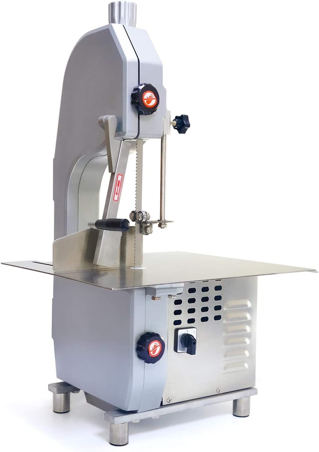 Rbaysale Electric Bone Cutting Machine 1500W Commercial Bone Saw Machine Frozen Meat Slicer Large Table Saw Butcher Band Saw Blades Cutter Thickness Adjustable for Cut Bone Frozen Meat