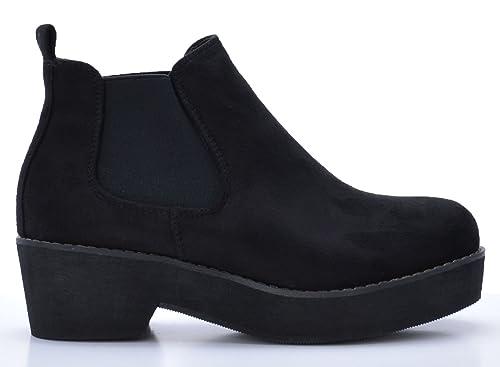 Rebajas Botines de Mujer Chelsea de Ante Negro con Plataforma: Amazon.es: Zapatos y complementos
