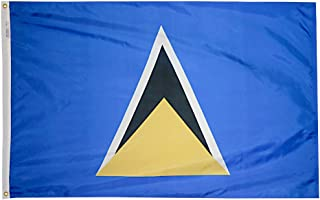 product image for Annin Flagmakers Model 197225 St. Lucia Flag 3x5 ft. Nylon SolarGuard Nyl-Glo 100% Made in USA to Official United Nations Design Specifications.