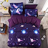 Duvet Cover Set, Star Cosmic Galaxy dark blue, Soft Microfiber Bedding with Zipper Closure(4pcs, King Size)