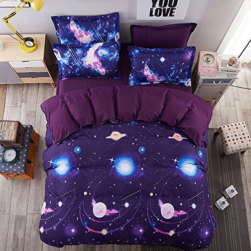 Duvet Cover Set, Star Cosmic Galaxy dark blue, Soft Microfiber Bedding with Zipper Closure(4pcs, King Size) by Cloud Dream