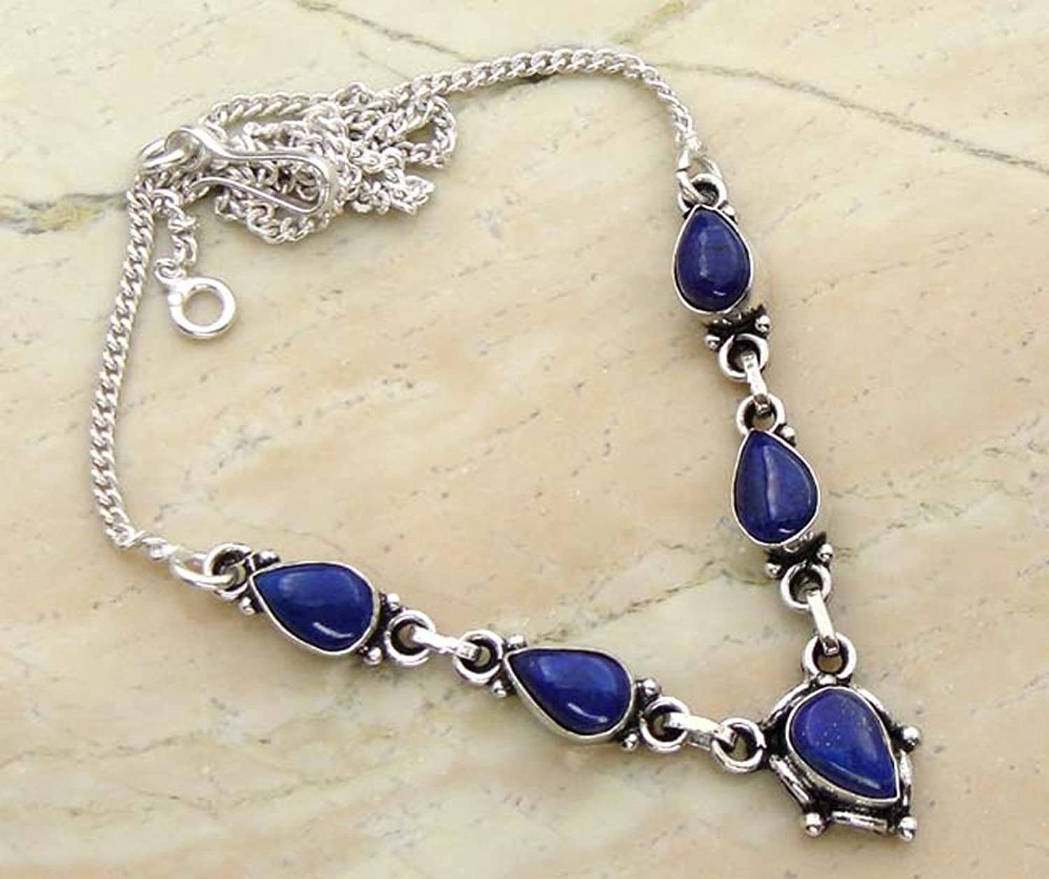 Genuine Lapis Lazuli 925 Silver Overlay Handmade Fashion Necklace Jewelry