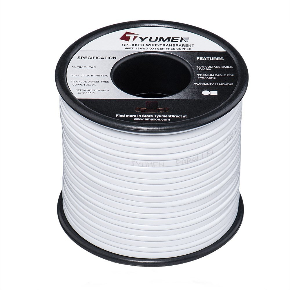 Amazon.com: TYUMEN 18 AWG Gauge 2 Conductor Stranded 40 FT Roll ...