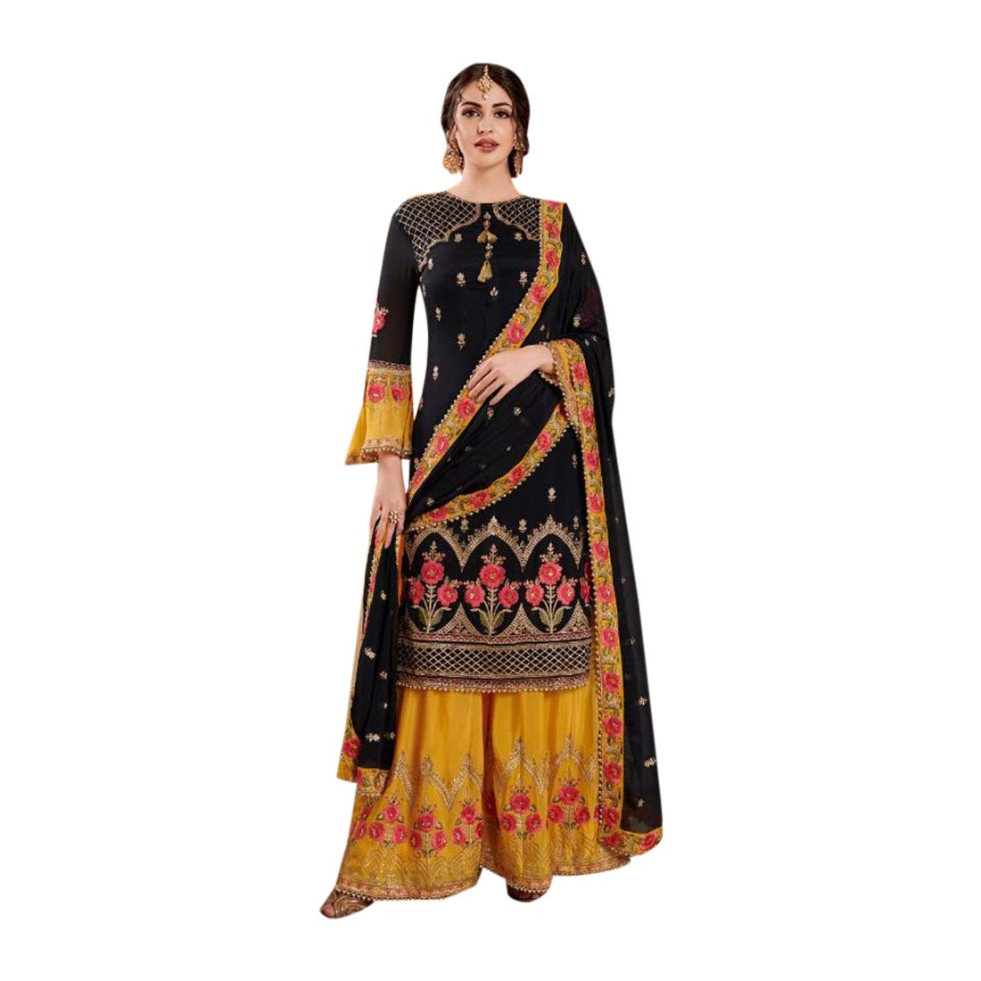 Black Yellow Indian Wedding Faux Georgette Sharara Palazzo suit for Women with Heavy Embroidery Muslim dress 7702